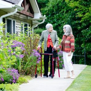 Two Heather Glen residents going for a walk.
